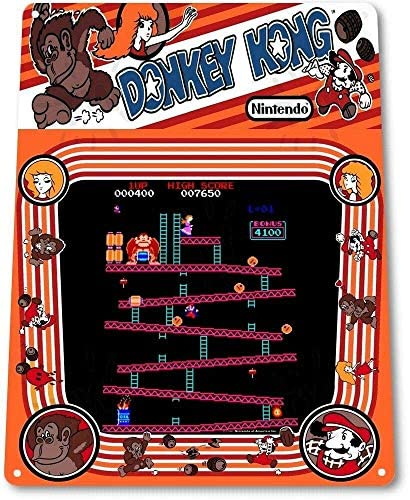 Keviewly Donkey Kong Classic Arcade Marquee Game Room Man Cave Wall Decor – 8″X12″ Tin Metal Sign