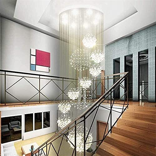 Jzhi Chandelier Lighting Modern Spiral 11 Sphere Rain Drop Crystal Chandelier Large Flush Mount High Ceiling Light Fixture for Entryway Foyer Staircase W 31.5″ X H 110″