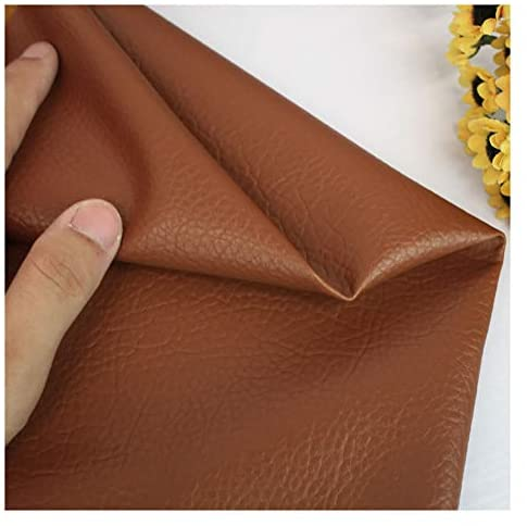XLEIQUISHJ Faux Leather Soft Feel Material Leatherette Stretch Fabric Faux PU Leather Fabric Sheet Litchi Fabric Canvas Back for Bag, Hat, Jewelry, Hair Crafts, Sewing and Decorations -Brown 1.38x4m