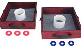Triumph Premium Washer Toss Game – Includes 2 Felt-Lines Washer Boxes and Steel Washers