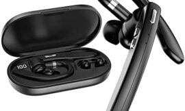 Bluetooth Headset TOP V5.0 Wireless Headset 48Hrs Playtime with 500mAh Charging Case Built-in Dual Mic Noise Cancelling Bluetooth Earpiece Hands-Free Wireless Earpiece for Driving/Office/Business