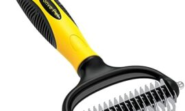 Bonve Pet Grooming Brush – Double Sided Shedding and Dematting Undercoat Rake Comb for Dogs and Cats, Safe Dematting Comb for Easy Mats & Tangles Removing