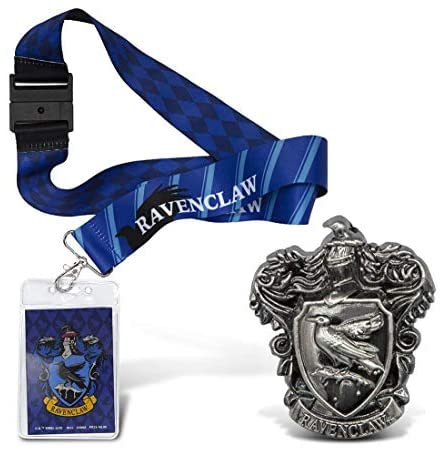 Warp Gadgets Harry Potter Bundle – Ravenclaw Deluxe Lanyard W/ Card Holder and Pewter Lapel Pin (2 Items)
