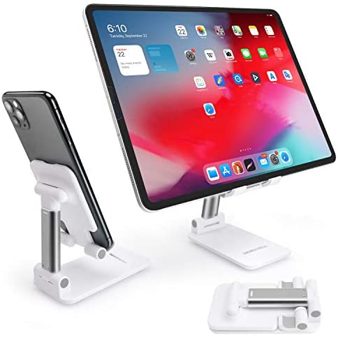 Adjustable Cell Phone Stand Fully Foldable Tablet Holder Collapsible Desktop Phone Stand Compatible with All Smart Phones, Ipad, Samsung Galaxy Tablets, Kindle, Nintendo Switch(13'' Max)