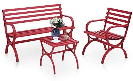 PHI VILLA Outdoor Garden Bench Set with Single Seat Chair & Metal Side End Table, Metal Conversation Set for Patio, Lawn, Balcony, Yard, Porch – Red