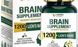 Lion's Mane Capsules, 60 Capsules Brain Booster Supplement for Boosting Energy and Memory, Brain Pills for Nootropic Power & Focus & Clarity Support, Vegan Friendly