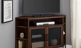 Walker Edison Furniture Company Modern Metal Mesh and Wood Corner Universal Stand with Open Shelves Cabinet Doors TV's up to 55″ Flat Screen Living Room Storage Entertainment Center, Dark Walnut