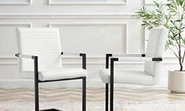 Modway Savoy Vegan Leather Dining Chair in White-Set of 2