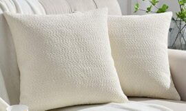 Rythome Set of 2 Cozy Fine Textured Throw Pillow Covers, Decorative Elegant Accent Pillow Cases for Couch Bed and Living Room – 18″x18″, Ivory
