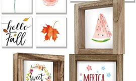 KIBAGA Farmhouse Home Decor Signs – Set of 3 Frames with 18 Interchangeable Sayings for Summer Decorations – 6″x6″ Centerpiece Frames for Seasonal Living Room Coffee Table, Wall and Tiered Tray Decor