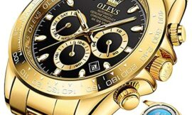 Watches for Men Gold Mechanical watchs Men Day-Week-Date Window-Stainless Steel Strap Gold