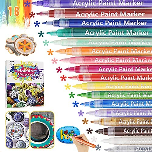 Acrylic Paint Pens,18 Colors Paint Markers Pen Set Ideal for Rock, Wood, Metal, Plastic, Glass, Canvas, Ceramic, Easter Egg and more Painting, Bright Color, Easy to Ink, Convenient DIY