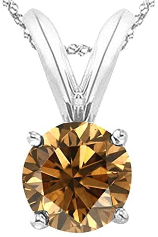 Read more about the article 1/2-5 Carat Round Brown Diamond 4 Prong Pendant Necklace (AAA Quality) W/ 16″ Silver Chain