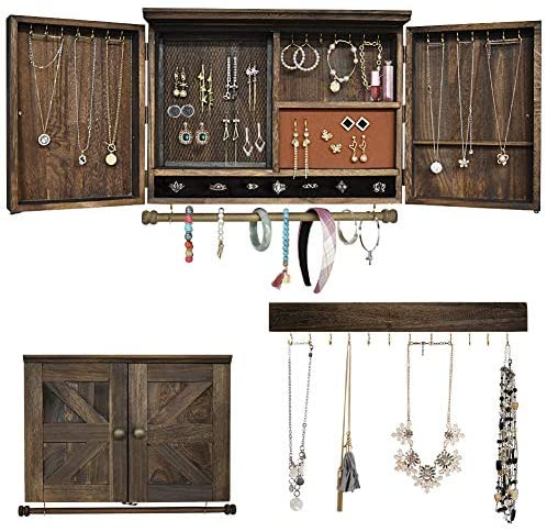 Read more about the article Rustic Wall Mounted Jewelry Organizer,Vintage Wooden Hanging Jewelry Holder Box with Barndoor Decor for Necklaces, Earings, Bracelets, Rings, Accessories. Includes Hook Organizer