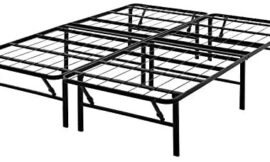 Mainstay 14″ High Profile Foldable Steel Bed Frame, Powder-Coated Steel (Black, Full)