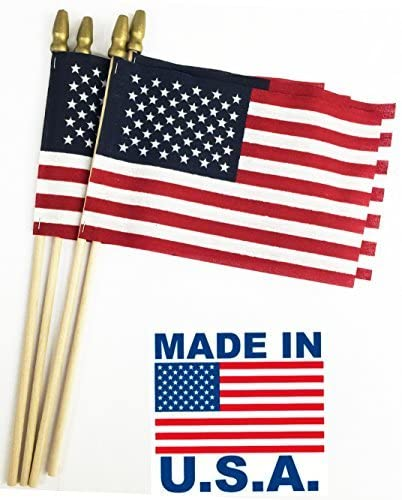 Read more about the article GIFTEXPRESS Pack of 24, Proudly MADE IN USA 8 x 12 Inch Spearhead Handheld American Stick Flags on 24″ Stick /Grave marker American Flags/USA Stick Flag (24)