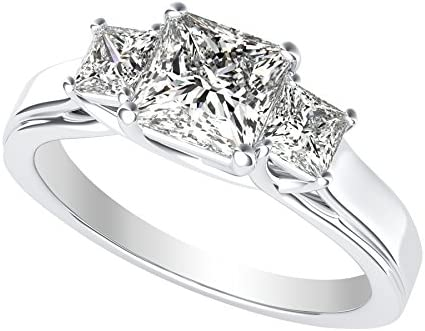 Read more about the article 3 Three Stone Princess Diamond Engagement Ring 14K White Gold (I-J Color Value)