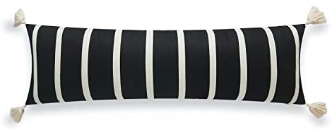 Read more about the article Hofdeco Modern Boho Moroccan Indoor Outdoor Body Lumbar Pillow Cover ONLY for Bed, Backyard, Couch, Sofa, Black Stripe Tassels, 12″x40″