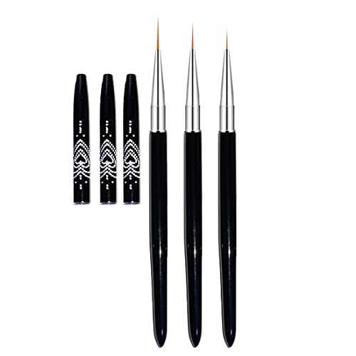 Read more about the article FULINJOY Nail Art Liner Brushes, 7mm/9mm/11mm UV Gel Painting Nail Art Design Brush Metal Handle Nail Drawing Pens (3PCS, Black)