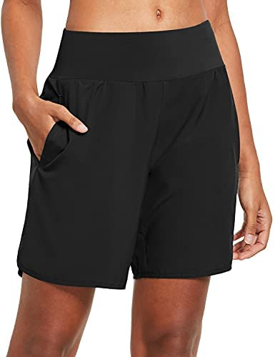 Read more about the article BALEAF Women's 7 Inches Long Running Shorts with Liner Lounge Sport Gym Shorts Back Zipper Pocket