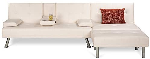 Read more about the article Best Choice Products Faux Leather Upholstery 3-Piece Modular Modern Living Room Sofa Sectional Furniture Set w/Convertible Single & Double Seat Futon Beds, Ottoman, Reclining Backrests – White