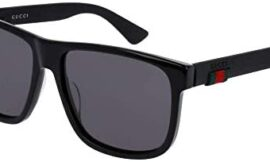 Gucci GG0010S 001 58M Black/Grey Square Sunglasses For Men For Women+FREE Complimentary Eyewear Care Kit