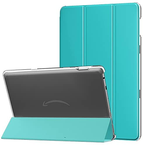 Read more about the article MoKo Case Fits All-New Kindle Fire HD 10 & 10 Plus Tablet (11th Generation, 2021 Release) – Slim PU Leather Trifold Stand Cover Frosted Hard Back Shell with Auto Wake/Sleep, Peacock Blue