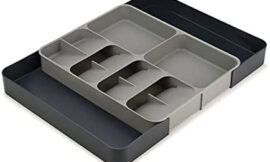 Joseph Joseph DrawerStore Kitchen Drawer Organizer Tray for Cutlery Utensils and Gadgets, Expandable, Gray