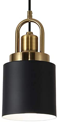 Read more about the article Vintage Pendant Light Fixture Industrial Cylinder Hanging Lamp Fixture Farmhouse Retro Ceiling Light with Black Finish for Kitchen Island Dining Room Living Room, Electroplated Copper Socket