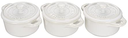 Read more about the article STAUB Ceramics Mini Round Cocotte Set, 3-piece, Rustic Ivory