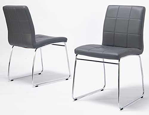 Read more about the article Grey Dining Chairs,WISOICE Modern Dining Chair Set of 2 Comfortable Kitchen Chairs with PU Leather and Metal Legs for Kitchen, Living Room,Dining Room Side Chairs