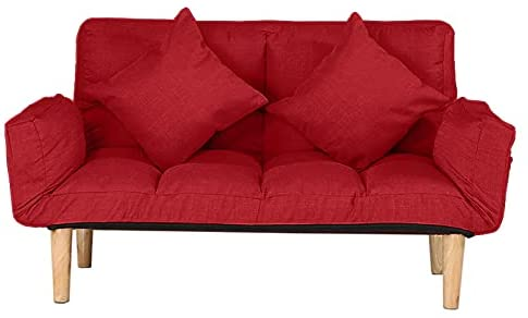 Read more about the article YaoyaoK Small Modern Couch, Folding Relax Lounge Sofa Bed Sleeper with 2 Pillows, Futon Sofa Bed, 2-Seat Sofa Couch Tufted Love Seat with Foldable Armrests for Living Room, Bedroom (Red)