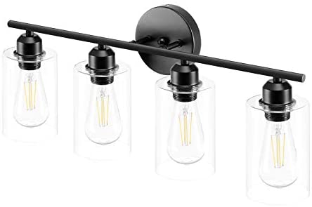 Read more about the article Espird 4 Light Bathroom Vanity Light Fixtures Black,Rustic Farmhouse Vanity Lighting Over Mirror Modern Industrial Lamp with Cylinder Glass Shade