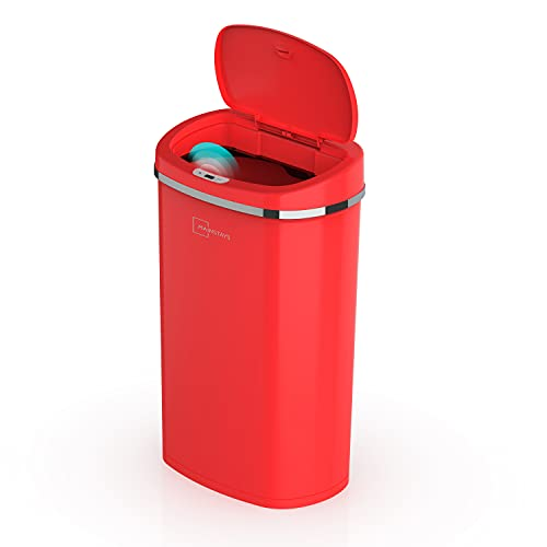 Read more about the article Mainstay Motion Sensor Trash Can, 13.2 Gallon, Red Stainless Steel
