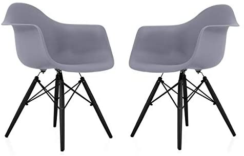 Read more about the article Overstock CozyBlock Scandinavian Dark Grey Molded Plastic Dining Arm Chair with Black Wood Eiffel Legs (Set of 2)