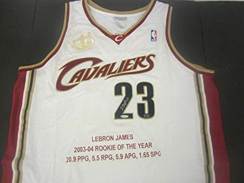 Read more about the article LeBron James Cavaliers signed Rookie of the Year 2003-04 jersey 92/123 UDA COA – Autographed NBA Jerseys