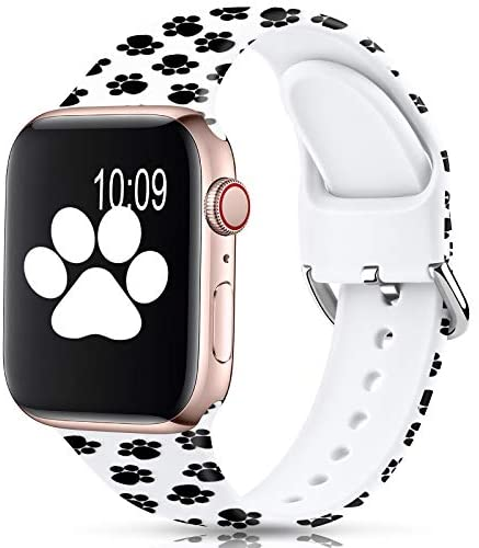 Read more about the article Sport Band Compatible with Apple Watch Bands 38mm 40mm 42mm 44mm for Women Men,Floral Silicone Printed Fadeless Pattern Replacement Strap Band for iWatch Series 3 6 5 4 2 1 SE,Paw,38/40 mm S/M