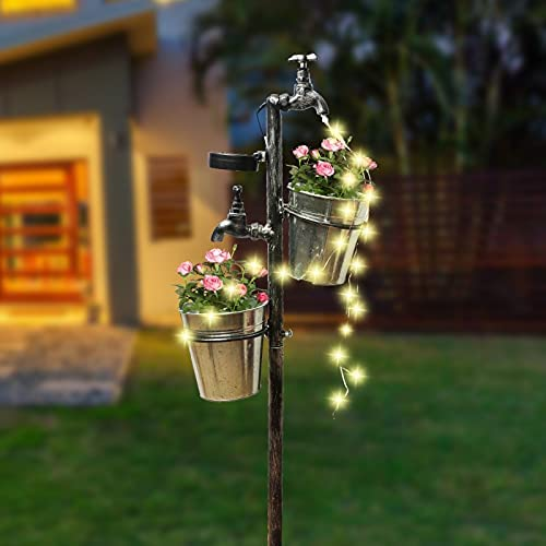 Read more about the article MorTime Solar Faucet Garden Stake with Two Planters, LED Lights Flowing Water Retro Metal Faucet Yard Stake Outdoor Plant Holder Flower Pots for Lawn Garden Decorations