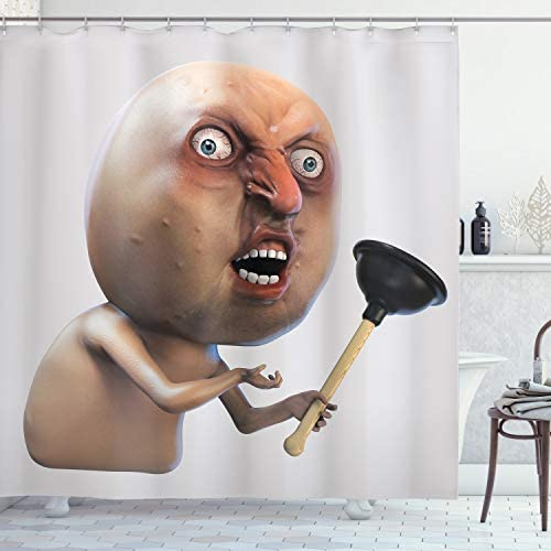 Read more about the article Ambesonne Humor Shower Curtain, Why You No with Plunger Guy Meme with Long Face Angry Grumpy Washroom Design Print, Cloth Fabric Bathroom Decor Set with Hooks, 70″ Long, Peach Tan