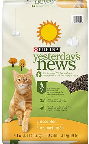 Read more about the article PURINA Yesterday's News Non Clumping Paper Cat Litter, Unscented Low Tracking Cat Litter in Recyclable Box – 30 lb. Bag