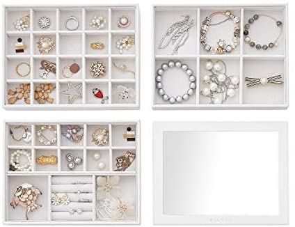 Read more about the article Vlando Stackable Jewelry Tray – Multipurpose Desktop Drawer Chest Jewelry Accessories Display Storage Organizer for Earring Necklace Bracelet Ring, 3-Layer w/Lid, White