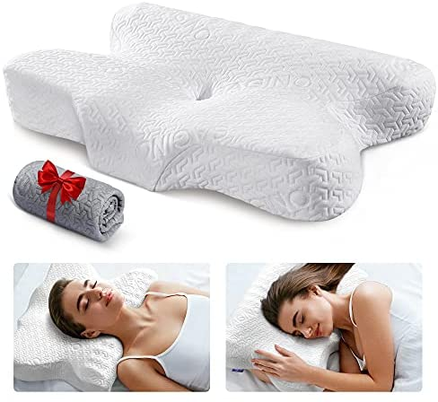 Read more about the article Sagino Cervical Memory Foam Pillow, Chiropractic Contour Bed Pillow with Ergonomic Sleeping Orthopedic Support for Neck & Shoulder Pain Relief, Extra Pillowcase Included- for Side Back Stomach Sleeper