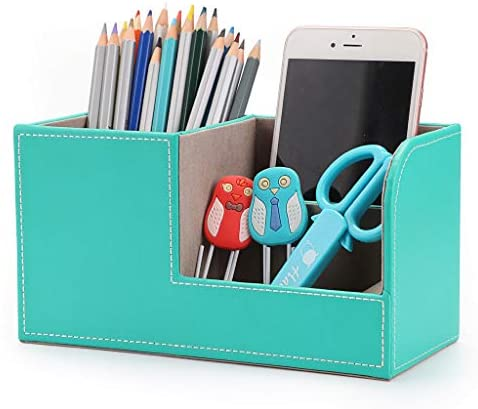 Read more about the article BTSKY Desk Pen Pencil Holder Leather Multi-function Desk Stationery Organizer Storage Box Pen/Pencil, Cell phone, Business Name Cards Remote Control Holder Office Home Accessories Organizer Mint Blue