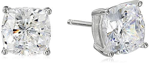 Read more about the article Platinum Plated Sterling Silver Cushion Cut Cubic Zirconia Stud Earrings