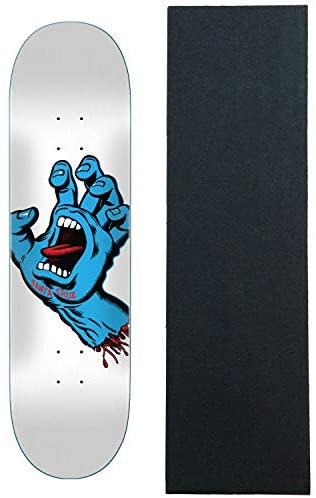 Read more about the article Santa Cruz Skateboards Deck Screaming Hand White 8.25″ x 31.8″ with Grip