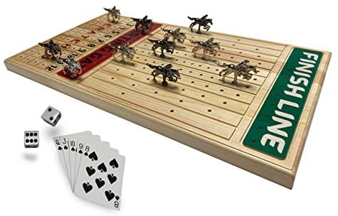 Read more about the article FINENI Horse Racing Board Game with Luxurious Durable Classic Metal Horses, 11 Pieces, 2 Colors (5 Black, 6 Silver), Real Pine Wood Horseracing Game Board, Dice and Cards