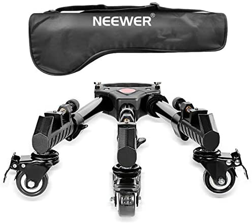 Read more about the article Neewer Photography Professional Heavy Duty Tripod Dolly with Rubber Wheels and Adjustable Leg Mounts for Canon Nikon Sony DSLR Cameras Camcorder Photo Video Lighting