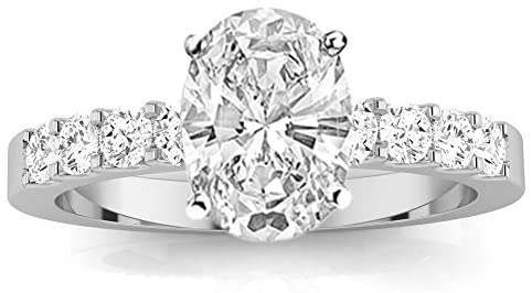 Read more about the article 3.5 Ctw 14K White Gold Classic Prong Set Round Oval Cut GIA Certified Diamond Engagement Ring (3 Ct H Color SI1 Clarity Center Stone)