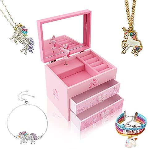 Read more about the article Agitation Unicorn/Princess Wooden Musical Jewelry Box for Girls with Unicorn/Princess Jewelry Set (Pink Unicorn4)