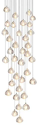 Read more about the article Flordeer Chandelier Modern Crystal Pendant Light LED Raindrop Hanging Lights High Ceiling Lighting Fixture for Living Room Dining Hallway Foyer Staircase G4 Bulbs (36 Lights)